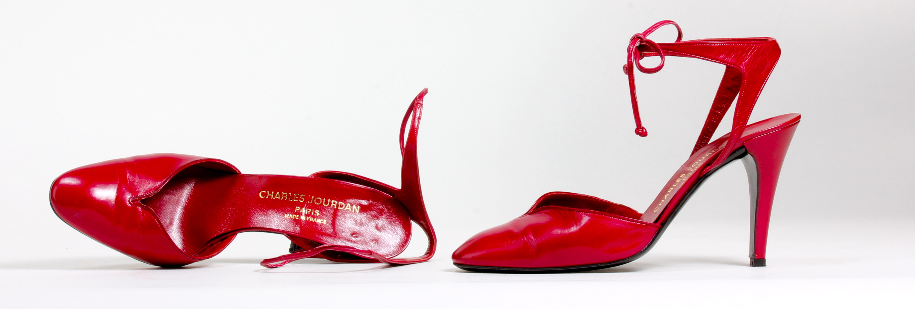 ada494d0106f Tie~On Cherry Red Pump by Charles Jourdan Paris 1978