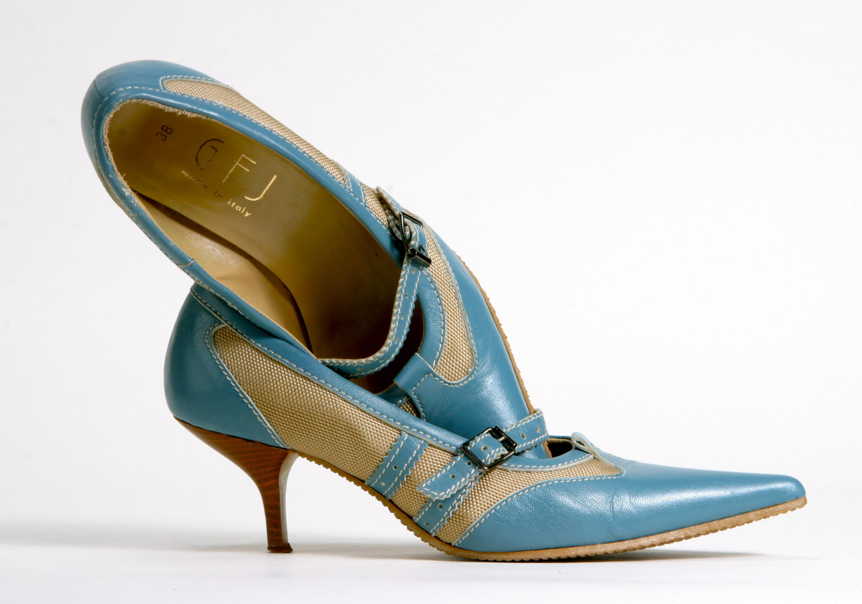 blue sneaker influenced stiletto pumps designed by gfj