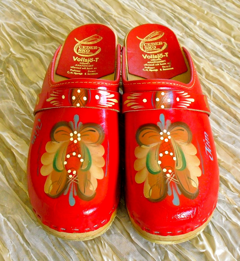 Red Leather Clogs Hand Painted with Scandiavian Designs by My Mother