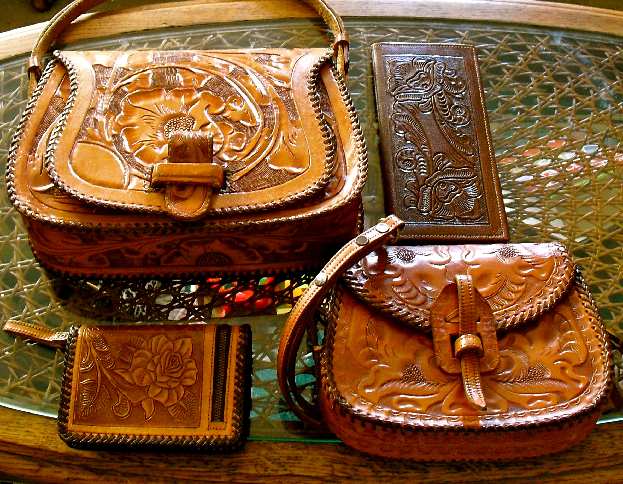 Collection of Tooled Leather Vintage Handbags   Wallets From Lady Violette  de Courcy s Personal Collection 640dac39de