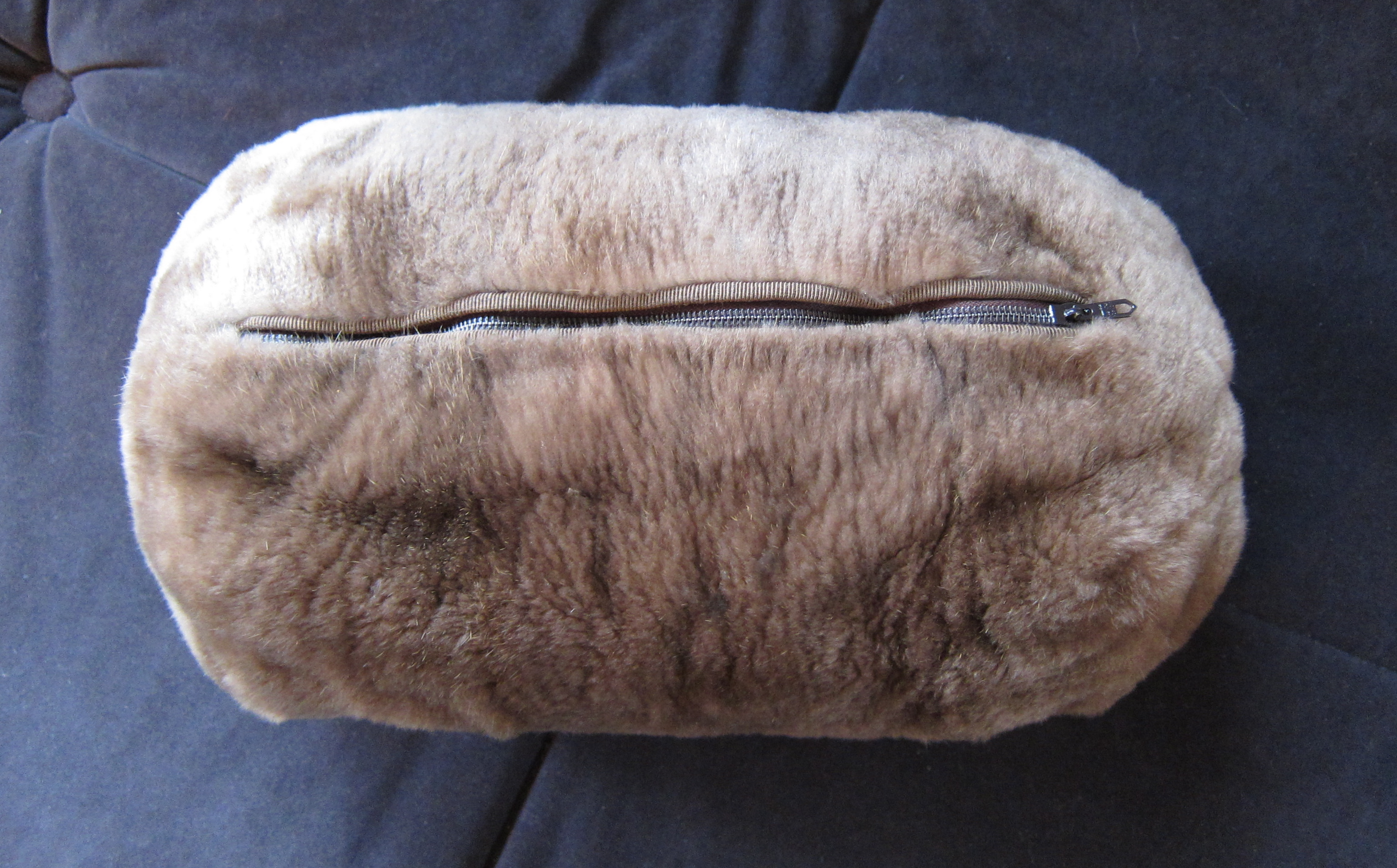 629e9066941 This is the Backside of the Sheared Natural Brown Beaver Muff Showing the  Zipper that Gives Access Into The Satin Lined Purse Compartment discreetly  Hidden ...